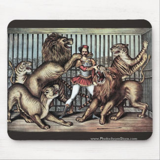 Lion Tamer In Cage With Lions Circus Poster Mouse Pad