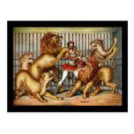 Lion tamer postcard