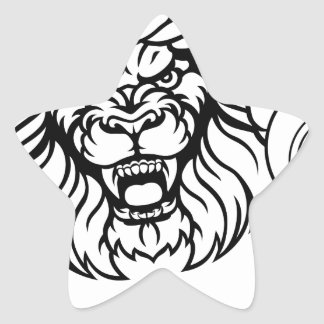 Lion Tennis Ball Sports Mascot Star Sticker