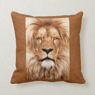 Lion The King Photo Painting Throw Pillow
