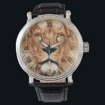 """Lion The King Photo Painting Wristwatch<br><div class=""""desc"""">Picture of a lion&#39;s close up face photograph paint art.</div>"""