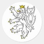 Lion theech Republic, Czech Round Sticker
