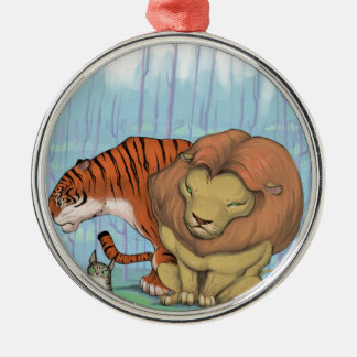 lion, tiger and kitty metal ornament