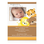 Lion, tiger & bear Baby Photo Announcement Card