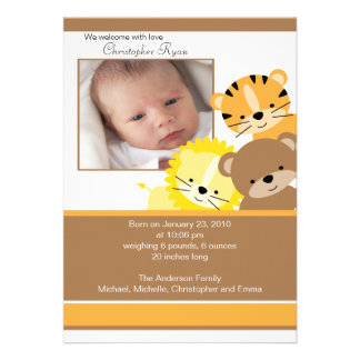 Lion tiger bear Baby Photo Announcement Card