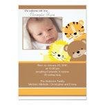 "Lion, tiger & bear Baby Photo Announcement Card 5"" X 7"" Invitation Card"