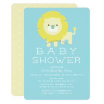 Lion Turquoise Blue Boy Baby Shower Invitation