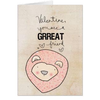 Lion Valentine | You Are A Grrreat Friend. Card