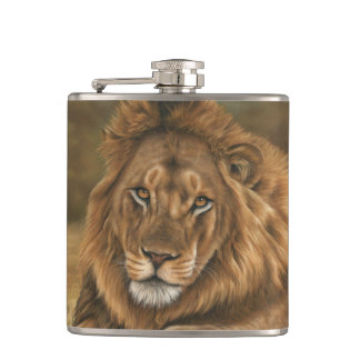 Lion Vinyl Wrapped Hip Flask