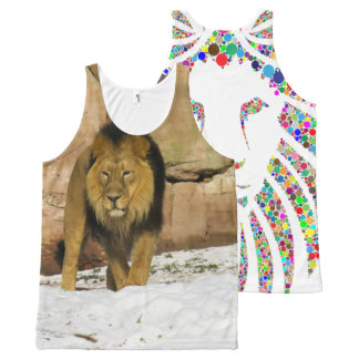 Lion walking on snow! All-Over-Print tank top