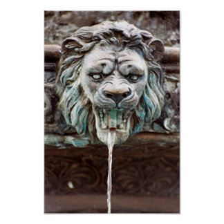 Lion Water Fountain Poster