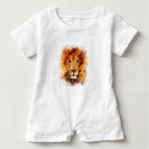 Lion Watercolor Baby Romper