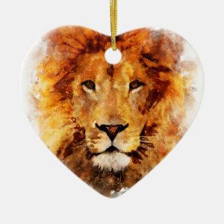 Lion Watercolor Ceramic Ornament