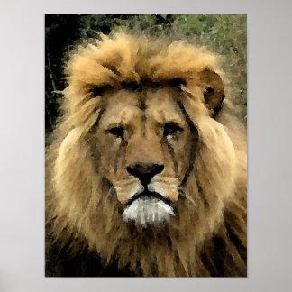 Lion Watercolour Portrait - Canvas Poster