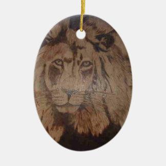 LION WB 2.PNG Lion Wood Burnig 2 Ceramic Ornament