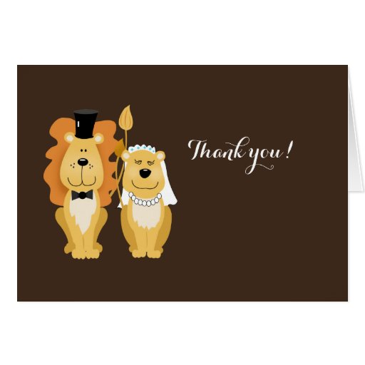 Lion Wedding Couple Thank you Note Card