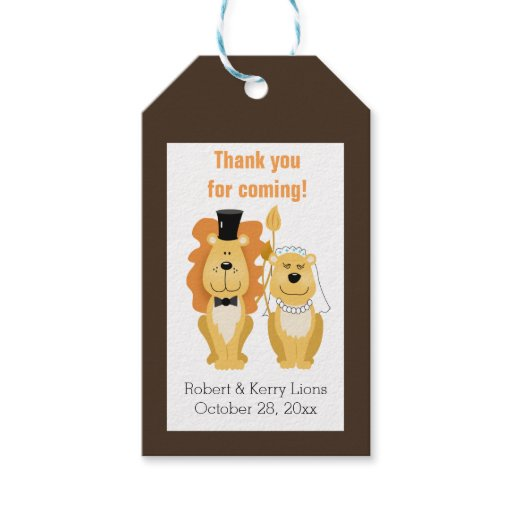 Lion Wedding Custom Gift Tag