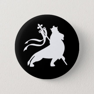 lion (white on black) pinback button