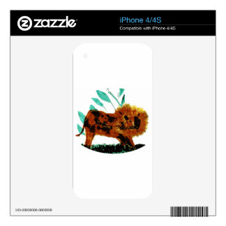 Lion Wild Animal illustration Skin For The iPhone 4