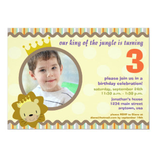 Lion with custom Photo Party Invite