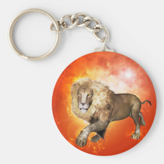 Lion with flame key chain