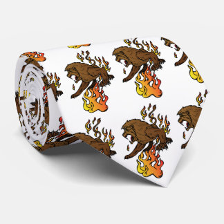 Lion With Flames Sports Football Basketball Tie