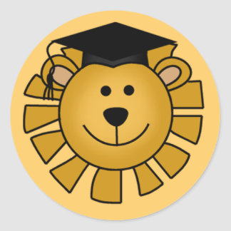 Lion with Graduation Cap Tshirts and Gifts Classic Round Sticker