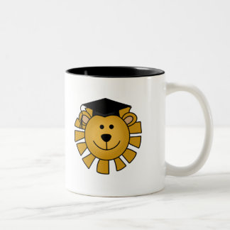 Lion with Graduation Cap Tshirts and Gifts Two-Tone Coffee Mug