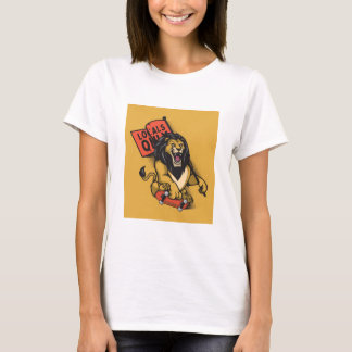 Lion with skateboard and colege flag T-Shirt