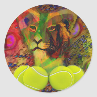Lion with tennis ball classic round sticker