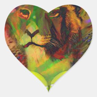Lion with tennis ball heart sticker