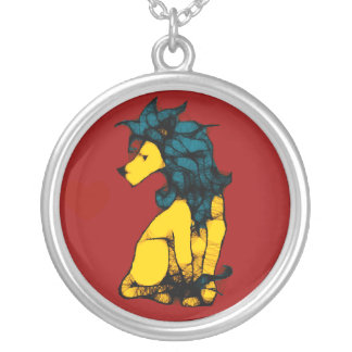 Lion with the Long Blue Mane Round Pendant Necklace