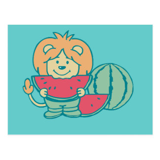 Lion with Watermelon Tshirts and Gifts Postcard