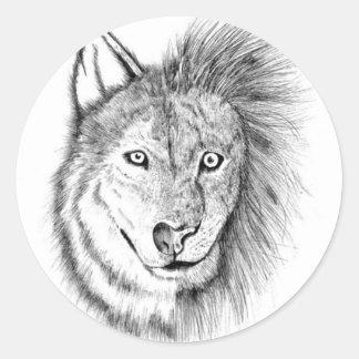 Lion Wolf Classic Round Sticker