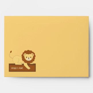Lion yellow enveloppe envelope