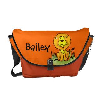 "Lion ""your name"" orange & yellow kids school bag commuter bag"