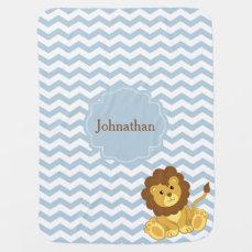 Lion Zigzag Pattern Custom Baby Blanket