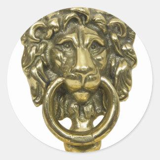 LionDoorKnocker072509 Classic Round Sticker