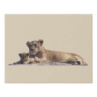 Lioness And Cub Faux Canvas Print