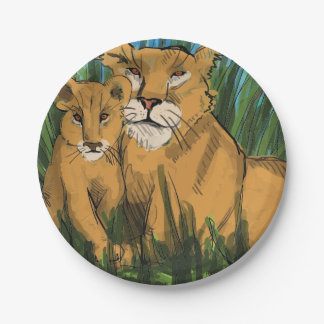Lioness and Cub Print Paper Plate
