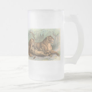 Lioness and Cubs, Felis leo Frosted Glass Beer Mug