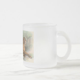 Lioness and Cubs, Felis leo Frosted Glass Coffee Mug