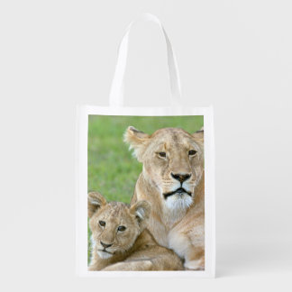 Lioness and Two Cubs, East Africa, Tanzania, Reusable Grocery Bag