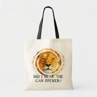 LIONESS ... CAN OPENER BUDGET TOTE BAG