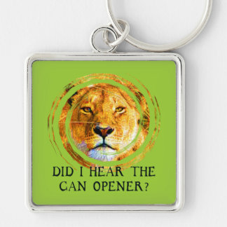 LIONESS ... CAN OPENER Silver-Colored SQUARE KEYCHAIN