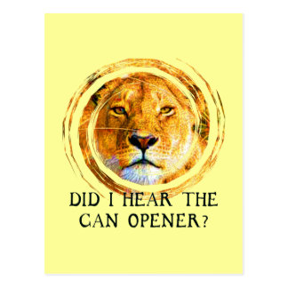 LIONESS ... CAN OPENER POSTCARD