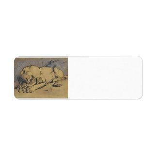 Lioness devouring a Rabbit  by Eugene Delacroix Return Address Labels