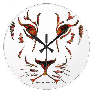 Lioness Face Pattern Fill Clocks