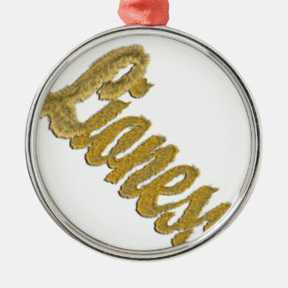 Lioness - Furry Text Metal Ornament