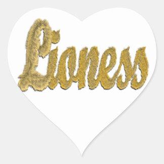 Lioness - Furry Text Heart Sticker